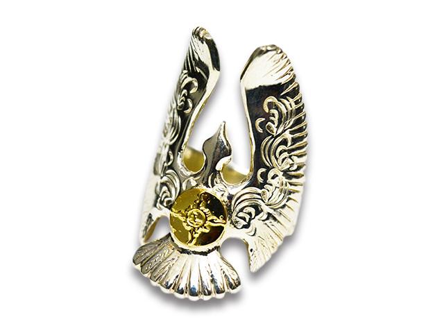 【FIRST ARROW's/ファーストアローズ】「Arabesque Carved Eagle Ring with K18/K18付きカラ草彫りイーグルリング」(R-099)【送料・代引き手数料無料】【あす楽対応】(アメカジ/ハーレー/バイカー/アクセサリー/プレゼント)