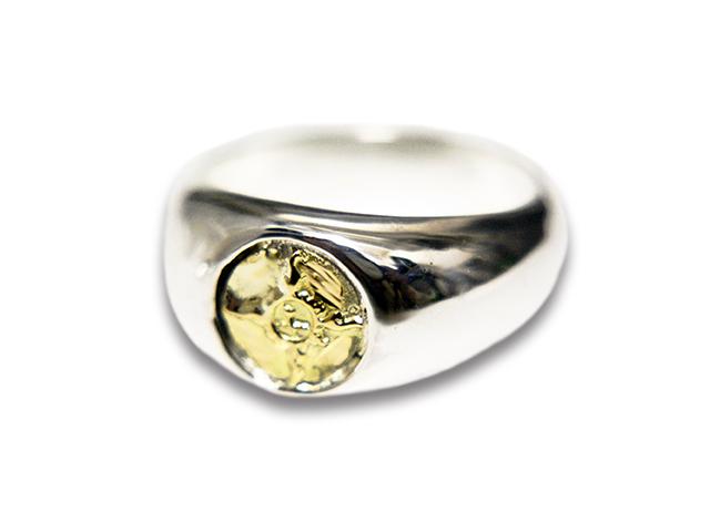 【FIRST ARROW's/ファーストアローズ】「Circle of Center Ring with K18/K18付サークルセンターリング」(R-238)【送料・代引き手数料無料】【あす楽対応】(アメカジ/ハーレー/バイカー/アクセサリー/プレゼント)