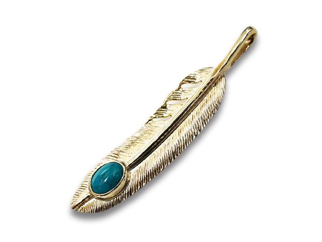 """【FIRST ARROW's/ファーストアローズ】「Medium Feather with Turquoise""""Left""""/ターコイズ付きミディアムフェザー""""左向き""""」(P-521L)【送料・代引き手数料無料】【あす楽対応】(アメカジ/ハーレー/バイカー/アクセサリー/プレゼント)"""
