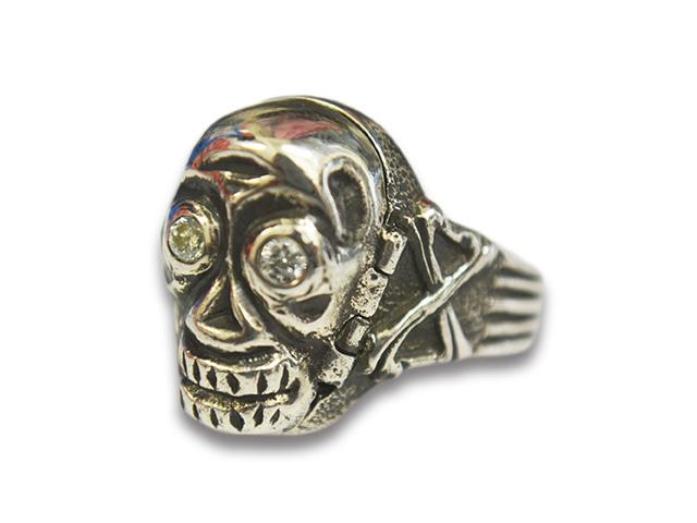 """【Peanuts&Co/ピーナッツカンパニー】「Skull Poison Ring""""Diamond""""/スカルポイズンリング""""ダイアモンド""""」(Silver925×White)【送料・代引き手数料無料】【あす楽対応】"""