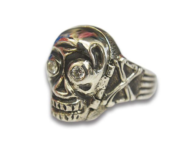 """【Peanuts&Co/ピーナッツカンパニー】「Skull Poison Ring""""Zirconia""""/スカルポイズンリング""""ジルコニア""""」(Silver925×White)【送料・代引き手数料無料】【あす楽対応】"""
