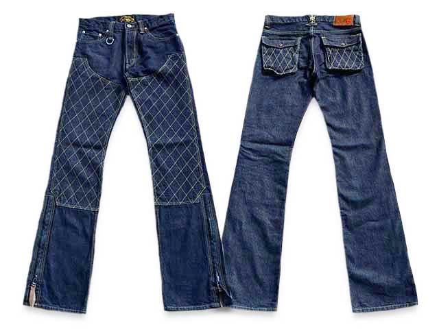 """【SKULL FLIGHT/スカルフライト】「SS Pants Type3 Boots Cut""""Quilting Double Knee Indigo Denim""""/SSパンツタイプ3ブーツカット""""キルティングダブルニーインディゴデニム""""」【送料・代引き手数料無料】【あす楽対応】(カリフォルニアライン)"""