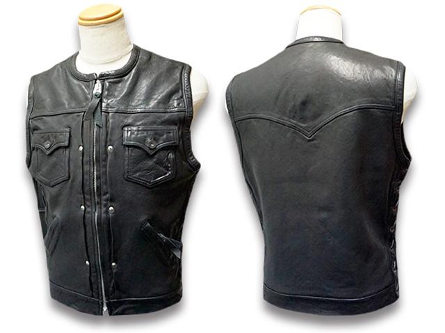 """【SKULL FLIGHT/スカルフライト】「Riders Sheepskin Club Zip Vest""""No Collar""""/ライダースシープスキンクラブジップベスト""""ノーカラー""""」【送料・代引き手数料無料】【あす楽対応】(CALIFORNIA LINE/カリフォルニアライン/ハーレー/バイカー/アメカジ)"""