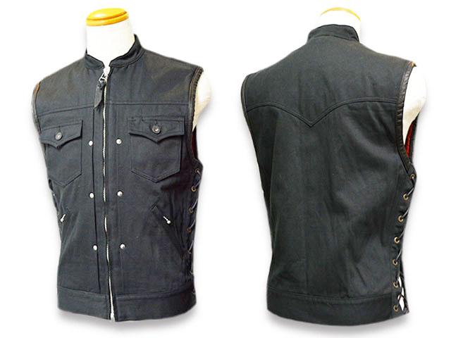 """【SKULL FLIGHT/スカルフライト】「Hard Pique Riders Club Zip Vest""""Stand Collar""""/ハードピケライダースクラブジップベスト""""スタンドカラー""""」【送料・代引き手数料無料】【あす楽対応】(CALIFORNIA LINE/カリフォルニアライン/ハーレー/バイク/バイカー)"""
