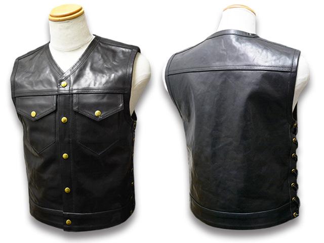 """【TISS CUSTOM LEATHERS/ティスカスタムレザーズ】「Motorcycle Club Vest""""Type G""""/モーターサイクルクラブベスト""""タイプG""""」【送料・代引き手数料無料】【あす楽対応】(ハーレー/バイカー/バイク/仙台チョッパー/ホットロッド/アメカジ)"""