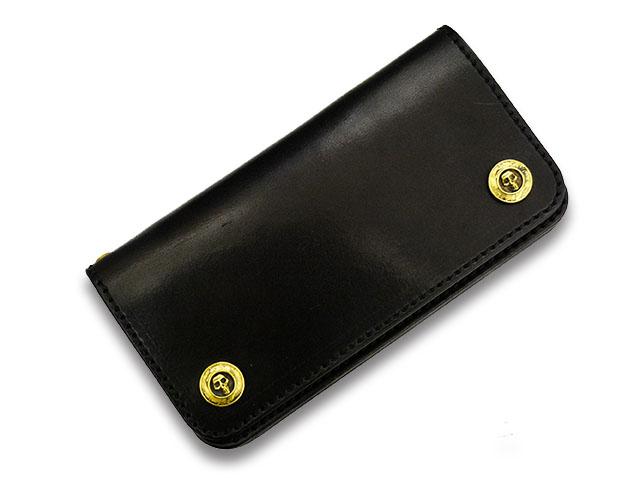 """【TISS CUSTOM LEATHERS/ティスカスタムレザーズ】「Plain Wallet""""Skull Button""""/プレーンウォレット""""スカルボタン""""」(Brass/A-1)【送料・代引き手数料無料】【あす楽対応】(ハーレー/バイカー/アメカジ/プレゼント/レザークラフト)"""