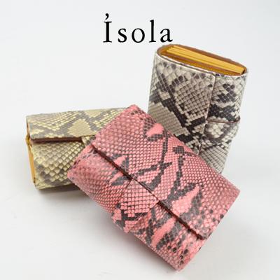 Isola(アイソラ) 二つ折り財布 マットパイソン / ジャバラ小【tohoku】