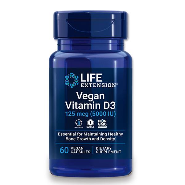 紫外線で合成されるビタミンDを効率よく摂取できるサプリメント ヴィーガン ビタミンD3 125mcg 5 祝開店大放出セール開催中 000IU 百貨店 60粒 Life 2ヶ月分 ライフエクステンション Extension