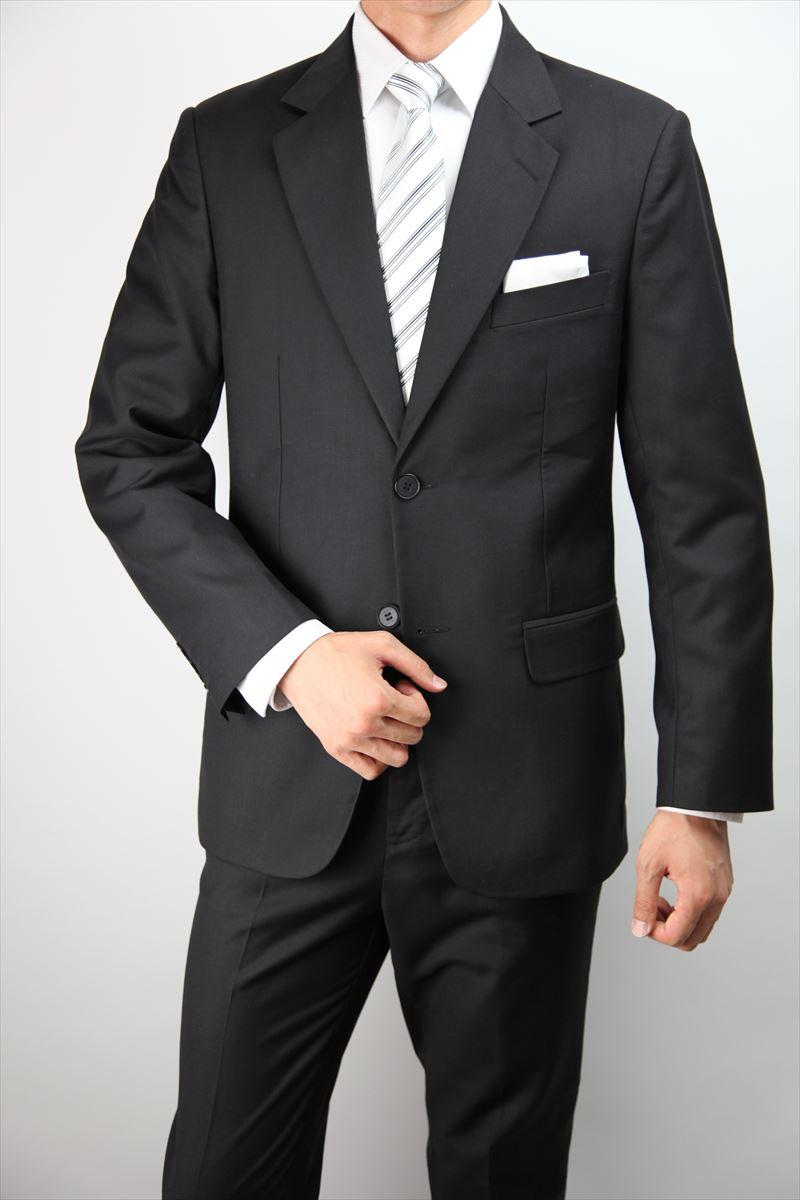 ブラックスーツ 2つボタン シングル フォーマルスーツ アジャスター付(ウエスト調整機能) メンズ 礼服 喪服 スーツ メンズスーツ 結婚式 冠婚葬祭 【商品番号:27st1】