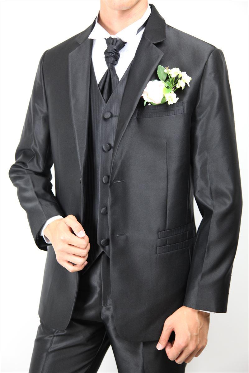 タキシード ブラック ベスト アスコットタイ付き 4点セット 大きいサイズ S~5L 結婚式 海外 披露宴 二次会 パーティフォーマル 写真撮影 ウェディング ブライズメイド 【商品番号:04txd1b】