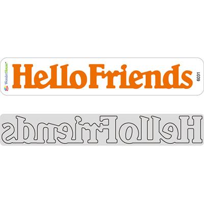 WonderHouse ワンダーハウス オリジナル スクラップブッキング ダイカット 引き出物 DIY クラフト ハンドメイド カード作り Friends テキスト 文字 アルバム作り Hello 新品 抜型 ダイ ミニボーダー N17-031