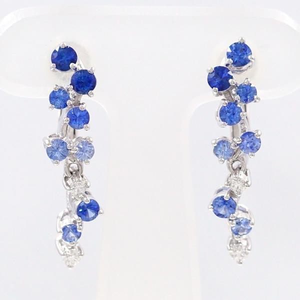 Wonder Price K14 14 Karat Gold Wg White Gold Earrings Sapphire