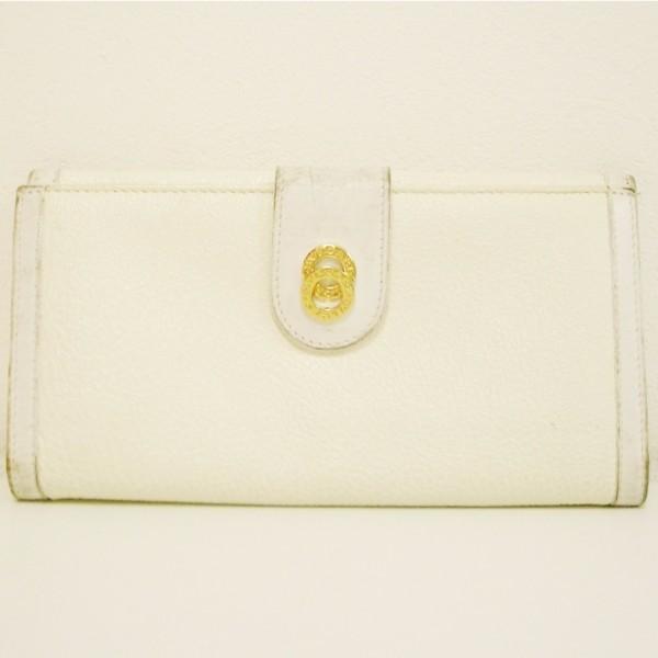 ブルガリ BVLGARI 三つ折り 長財布 レザー ホワイト アイボリー ★送料無料★【中古】【あす楽】