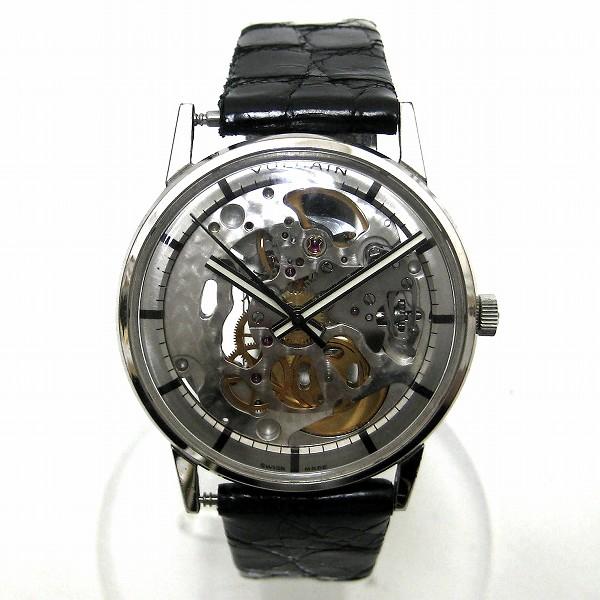 時計 VULCAIN ヴァルカン 手巻き フルスケルトン メンズ腕時計 MSR 17石 T44ムーブメント シルバー クロコダイル革ベルト ★送料無料★【中古】【あす楽】