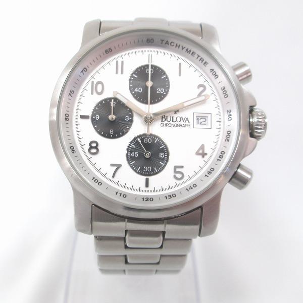 時計 ブローバ 48771 クロノグラフ 時計 腕時計 メンズ クオーツ 白文字盤 ★送料無料★【中古】【あす楽】