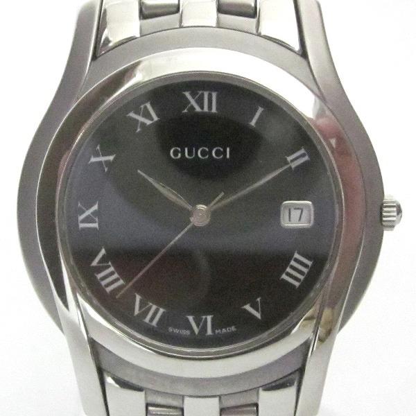 グッチ GUCCI Gクラスブラックローマン クオーツ 5500M時計 腕時計 メンズ ★送料無料★【中古】【あす楽】