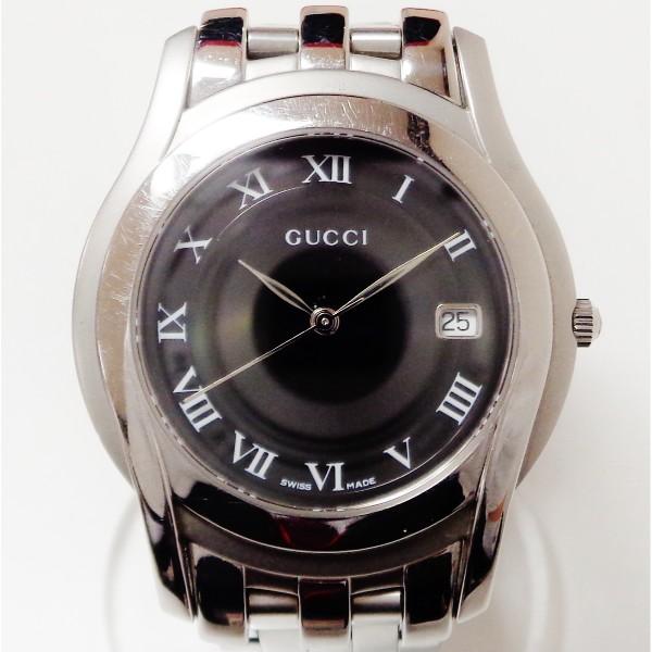 グッチ GUCCI 5500M クォーツ 黒文字盤 時計 腕時計 メンズ ★送料無料★【中古】【あす楽】