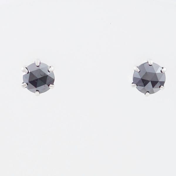 PT900 プラチナ ピアス ブラックダイヤ 0.41×2 中古ジュエリー ★送料無料★【新品同様】【中古】【あす楽】