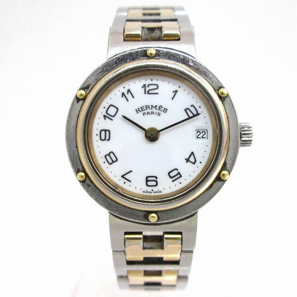 時計 エルメス Hermes クリッパー コンビカラー 白文字盤 クォーツ レディース ★送料無料★【中古】【あす楽】