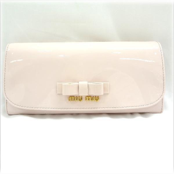 ミュウミュウ エナメル リボン 長財布 ピンク 5M1109 ★送料無料★【中古】【あす楽】