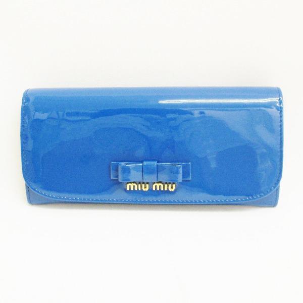 ミュウミュウ 長財布 エナメル ブルー 5M11093CJ013 ★送料無料★【中古】【あす楽】