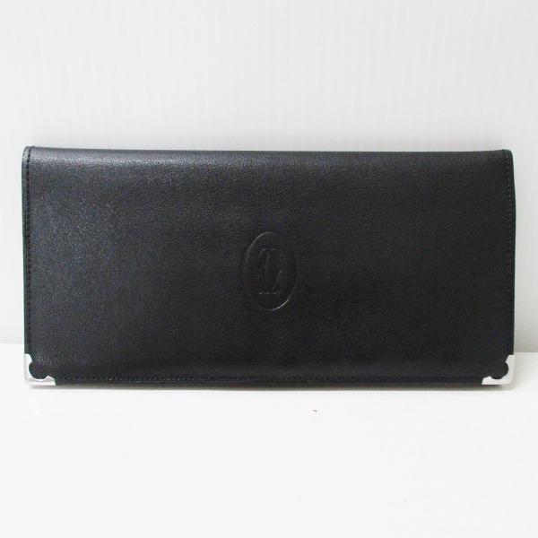 カルティエ Cartier カボションライン 札入れ財布 ブラック×ボルドー ★送料無料★【中古】【あす楽】