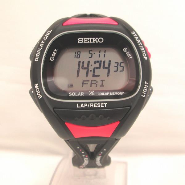 セイコー プロスペックス スーパーランナーズ S680-00A0 時計 腕時計 ユニセックス ソーラー ブラック×ピンク ★送料無料★【中古】【あす楽】