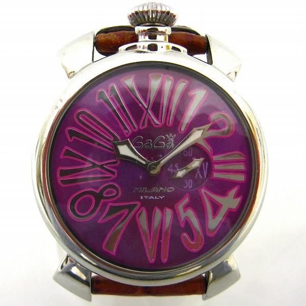 ガガミラノ マヌアーレ46 5084 クオーツ パープル文字盤 腕時計 メンズ ★送料無料★【中古】【あす楽】
