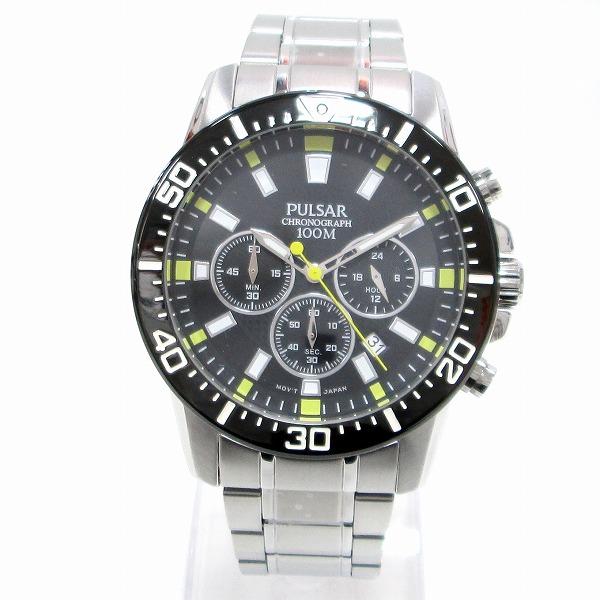 時計 セイコー PULSAR VD53-X179 メンズ クオーツ 黒文字盤 ★送料無料★【中古】【あす楽】