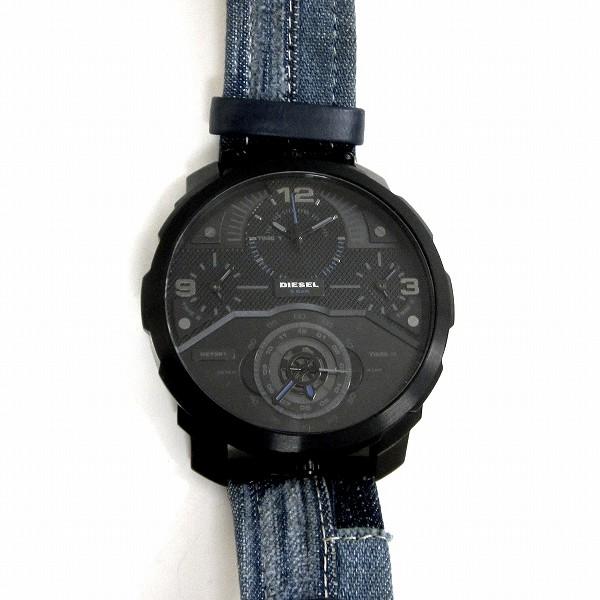 時計 ディーゼル DZ7381 ブラック × デニム パッチワーク デカ厚 メンズ時計 クォーツ ★送料無料★【中古】【あす楽】
