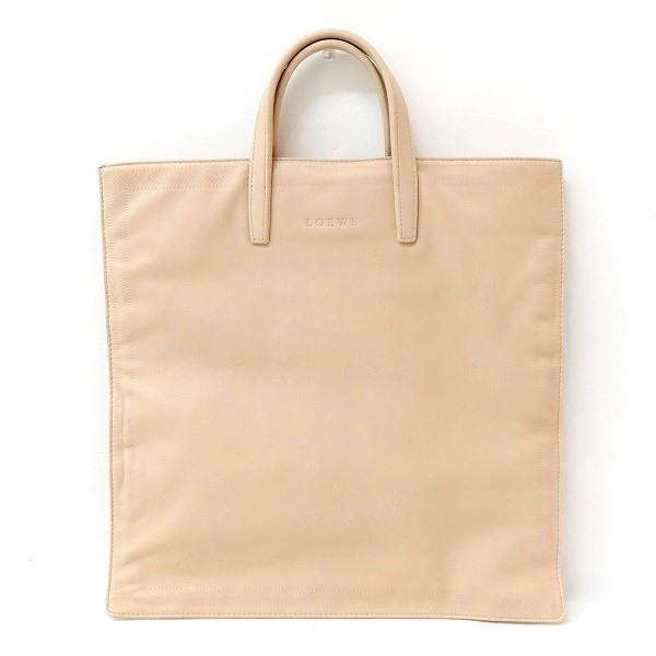ロエベ LOEWE レザー ハンドバッグ ベージュ 薄型 マチなし 保存袋付き トートバッグ ★送料無料★【中古】【あす楽】