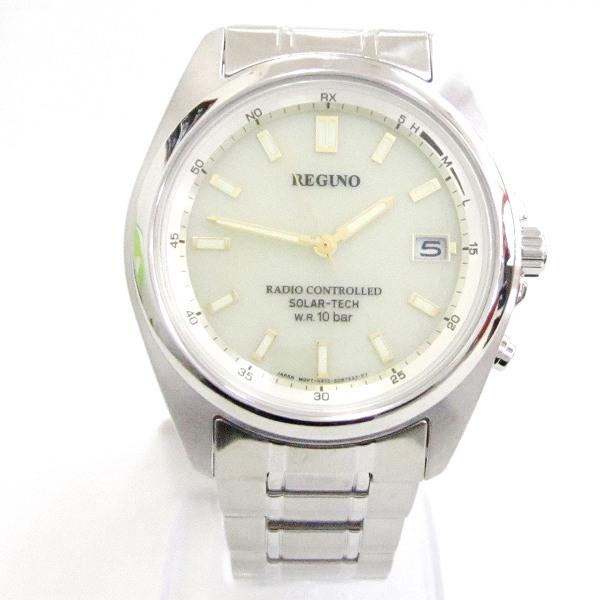 時計 REGUNO RS25-0341H メンズ 電波時計 クリーム文字盤 ★送料無料★【中古】【あす楽】