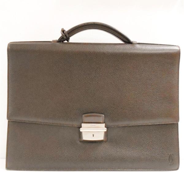 カルティエ Cartier パシャ ブリーフケース ダークブラウン バッグ ★送料無料★【中古】【あす楽】