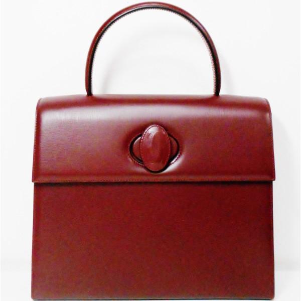カルティエ Cartier マストライン ハンドバッグ ターンロック ボルドー ★送料無料★【中古】【あす楽】