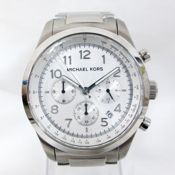 時計 マイケルコース MK-8036 クロノグラフ 時計 腕時計 メンズ クオーツ 白文字盤 ★送料無料★【中古】【あす楽】
