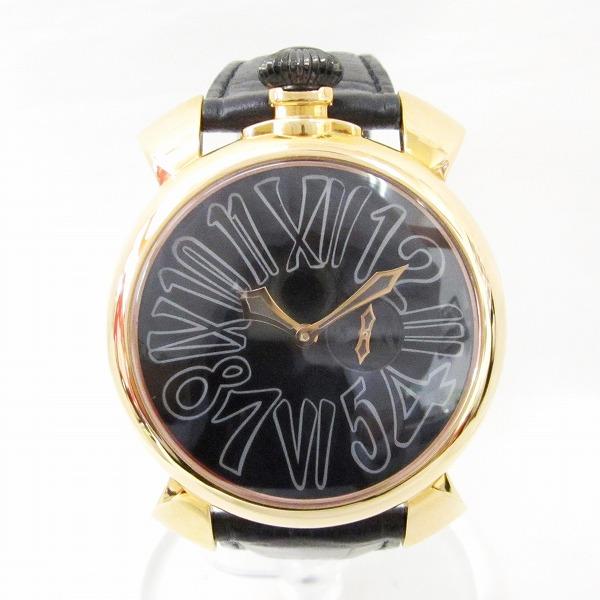 時計 ガガミラノ マニュアーレ46 時計 腕時計 メンズ クオーツ 黒文字盤 ★送料無料★【中古】【あす楽】