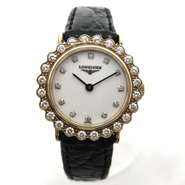 時計 ロンジン ダイヤ K18 革ベルト 時計 腕時計 レディース ★送料無料★【中古】【あす楽】