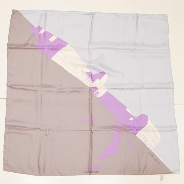 ルイヴィトン Louis Vuitton スカーフ シルク100% 大判スカーフ 建物 小物 ★送料無料★【中古】【あす楽】