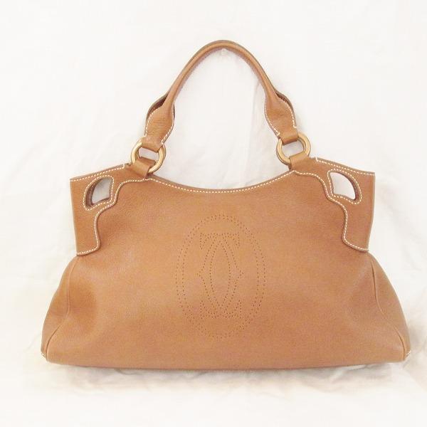 Wonder Price  Cartier Cartier Marcello bag handbag leather brown ... d5ae54715caa3