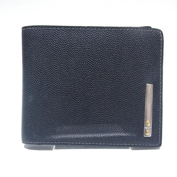 カルティエ Cartier サントス 二つ折り 財布 ブラック 黒 メンズ ★送料無料★【中古】【あす楽】