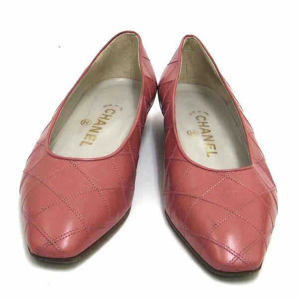 シャネル CHANEL パンプス 36 ピンク レザー 靴 レディース 小物 ★送料無料★【中古】【あす楽】