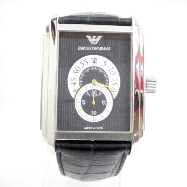 時計 アルマーニ AR-4200 メンズ 自動巻き 黒文字盤 時計 腕時計 ★送料無料★【中古】【あす楽】