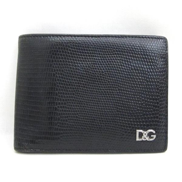 ドルチェ&ガッバーナ 型押しレザー 財布 二つ折り財布 ブラック ★送料無料★【中古】【あす楽】