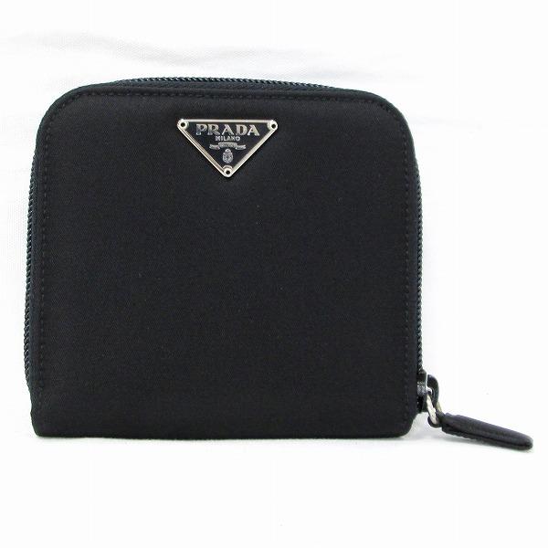 プラダ PRADA 二つ折り財布 M521 ナイロン ブラック ユニセックス ★送料無料★【中古】【あす楽】