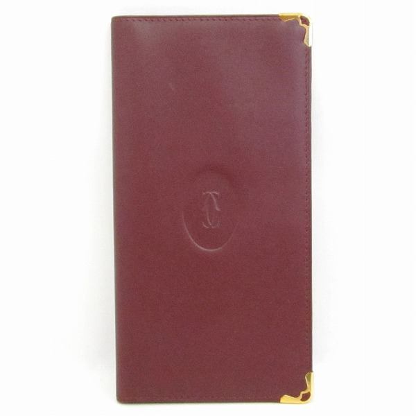 カルティエ Cartier マストライン カード 札入れ ボルドー 財布 ★送料無料★【中古】【あす楽】