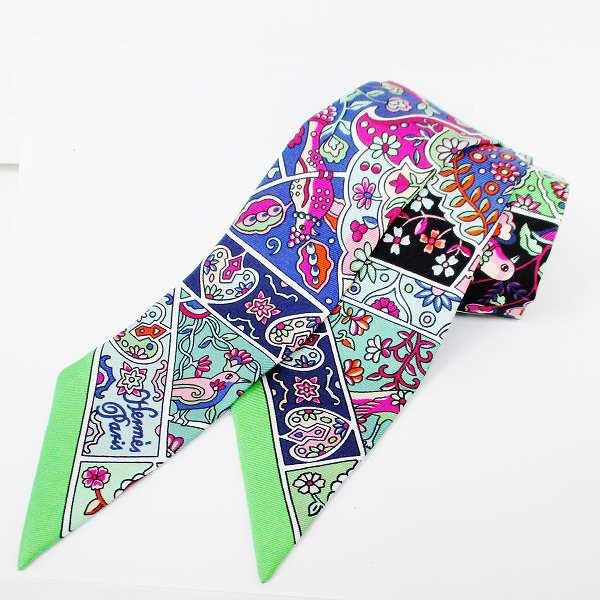 エルメス Hermes ツイリー スカーフ シルク グリーン 鳥 花 ファッション小物 レディース ★送料無料★【中古】【あす楽】