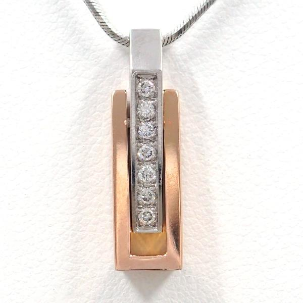 PT900 プラチナ PT850 K18PG ネックレス ダイヤ 0.10 中古ジュエリー ★送料無料★【新品同様】【中古】【あす楽】
