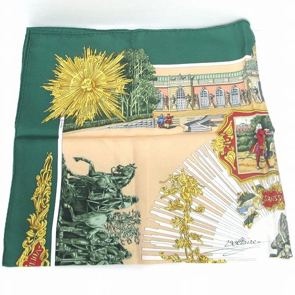エルメス Hermes ベージュ グリーン ファッション 小物 スカーフ レディース ★送料無料★【中古】【あす楽】