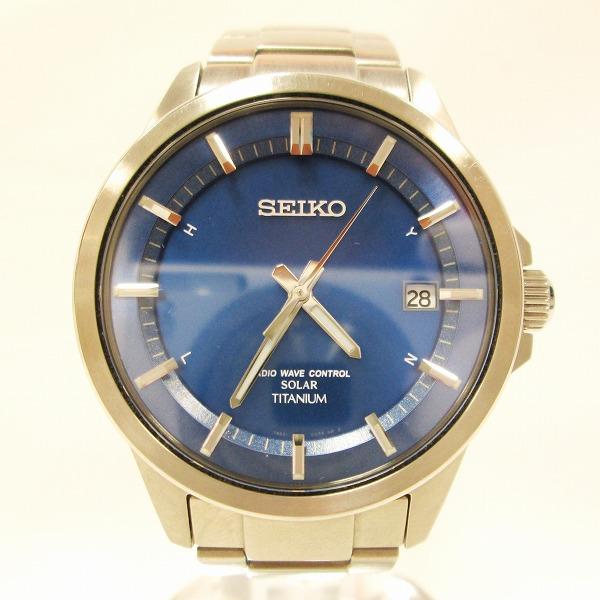 セイコー スピリット 7B52-0AD0 メンズ ソーラー電波 ブルー文字盤 時計 腕時計 ★送料無料★【中古】【あす楽】