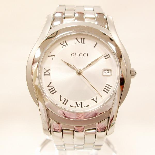 グッチ GUCCI 5500M メンズ クオーツ シルバー文字盤 時計 腕時計 ★送料無料★【中古】【あす楽】